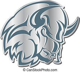 icon:, fej, ábra, bull., -, vektor, monochrom, dühös