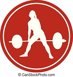 icon female athlete powerlifter deadlift white figure in the...