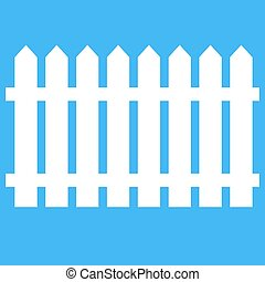 Icon fence on a blue background.