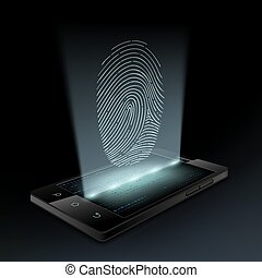 Icon fingerprint on the screen a smartphone. Hologram. Stock...