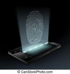 Icon fingerprint on the screen a smartphone. Hologram. Stock...