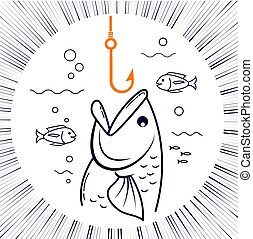 icon fishing linear style - concept of fishing in the form...