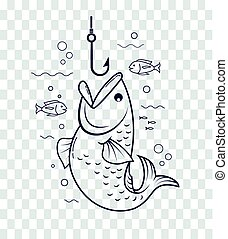 Icon fishing with an open mouth - Icon of fishing in the...