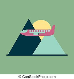 Icon flat design for airport Plane in mountains