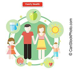 Icon Flat Style Concept Family Health