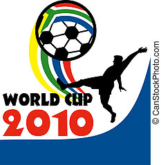 icon for 2010 soccer world cup with player kicking ball with flag of republic of south africa