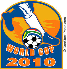 icon for 2010 soccer world cup with feet of player running ball with flag of republic of south africa