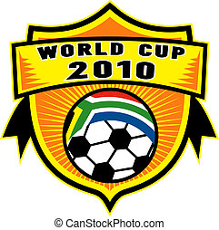 icon for 2010 soccer world cup with soccer ball with flag of republic of south africa inside a shield