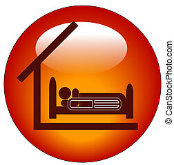icon for a person lying in hospital bed with roof