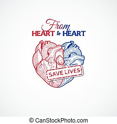 Icon for blood donation station with two hearts like one....
