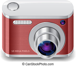 Icon for red compact camera. White background. Vector saved as eps-10, file contains objects with transparency.