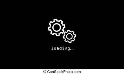 Icon for loading. The white gears turns on black background. Animation motion graphic