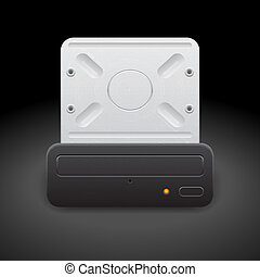 Icon for optical drive. Dark background. Vector saved as eps...