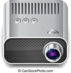 Icon for projector. White background. Vector saved as...