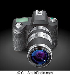 Icon for SLR camera. Dark background. Vector saved as eps-10...