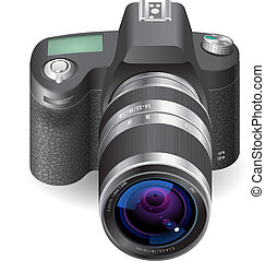 Icon for SLR camera. White background. Vector saved as eps-...
