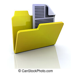 3D icon for new text document in folder