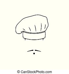 Icon french chef. Black white emblem.