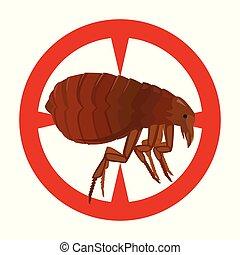 icon., fundo, flea., isolado, ícone, vetorial, pulga, caricatura, branca