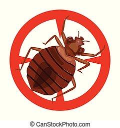 icon., fundo, isolado, bedbug, ícone, vetorial, caricatura, branca