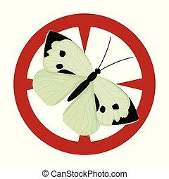 icon., fundo, isolado, borboleta, ícone, vetorial, caricatura, branca