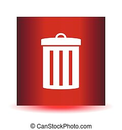 Icon garbage can on a red background. Vector Image.