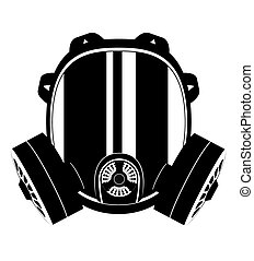 icon gas mask black and white vector illustration isolated...