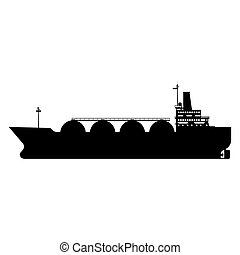 Icon Gas tanker LNG carrier natural gas. Carrier ship. Vector illustration isolated flat design