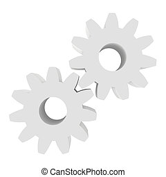 Icon gears isolated on a white background. 3d rendering close-up