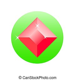 Icon gemstone on a white background. Vector illustration.