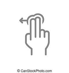 icon., geste, toucher, ligne, gauche, symbole, doigts, swipe...