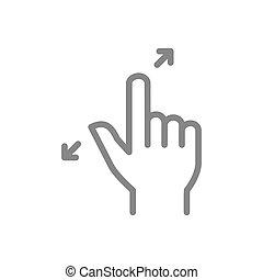 icon., geste, zoom, toucher, ligne, symbole, doigts, écran, ...