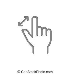 icon., gestes, toucher, ligne, symbole, doigts, écran, deux...