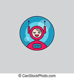 Icon girl robot android