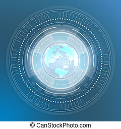 Icon Globe World Map. Digital generation of circles on a blue background