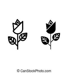 icon., glyph, uno, white., vector, app., aislado, ilustración, diseñado, flor, rosa, diseño, línea, tela, eps, 10., estilo, contorno, solo
