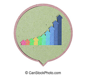 icon graph  with recycled paper craft stick