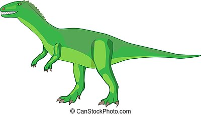 Icon green dinosaur on its feet with claws on a white background