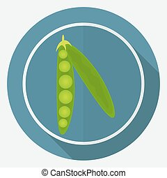 Icon green pea pod on white circle with a long shadow