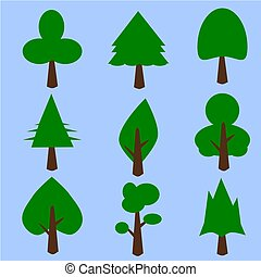 icon green tree shape .Illustration vector.