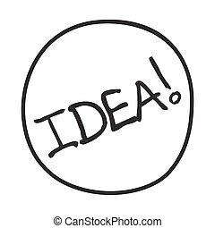 icon., griffonnage, idée