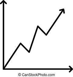 Icon growing graph black contour on a white background of vector illustration