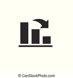 Icon Growing graph. business. vector illustration. Graphic. on white background