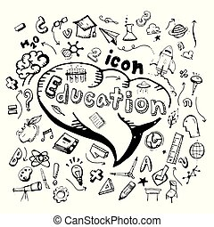 icon. Hand drawn. education themed doodle. Vector flat illustration. on white background