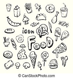 icon. Hand drawn. food themed doodle. Vector flat illustration. on white background