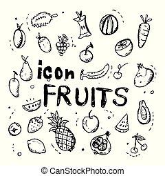 icon. Hand drawn. fruits themed doodle. Vector flat illustration. on white background