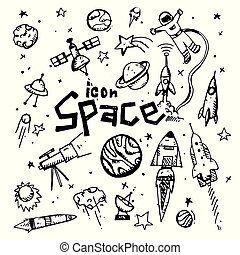 icon. Hand drawn. Space themed doodle. Vector flat illustration. on white background