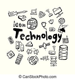 icon. Hand drawn. Technology themed doodle. Vector flat illustration. on white background