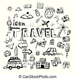 icon. Hand drawn. travel themed doodle. Vector flat illustration. on white background