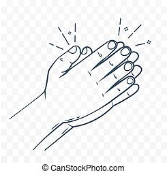 Icon hands in prayer linear style